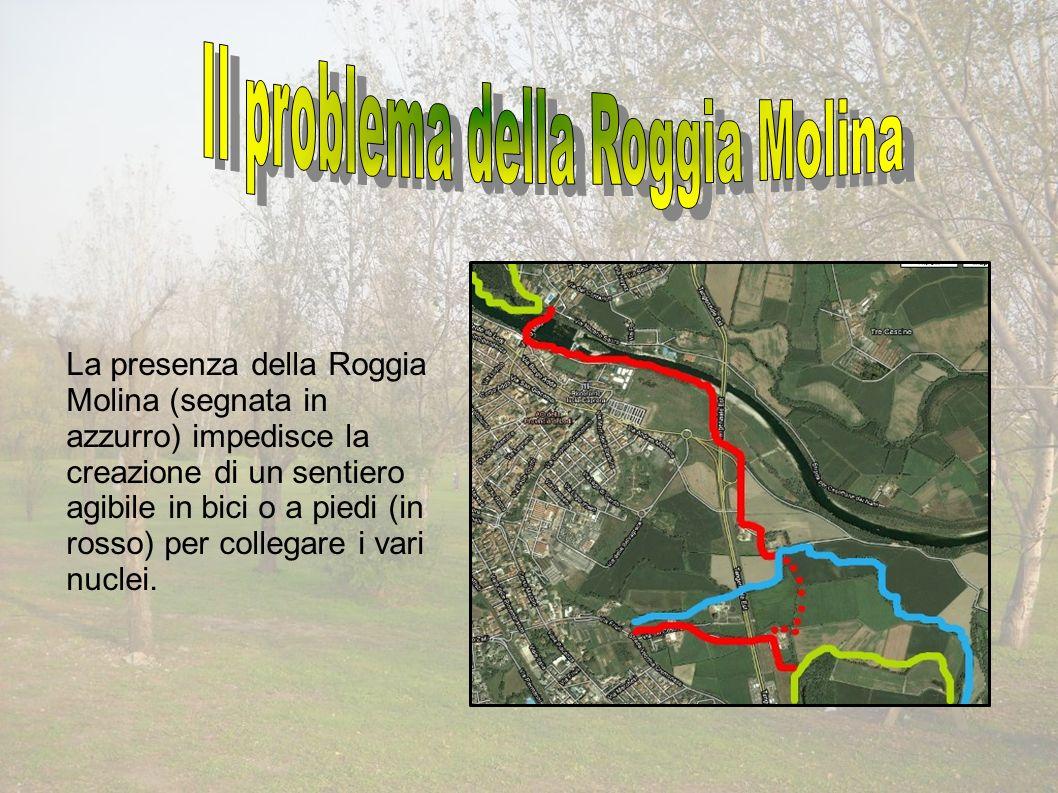 La presenza della Roggia Molina (segnata in azzurro) impedisce la creazione di un sentiero agibile in bici o a piedi (in rosso) per collegare i vari nuclei.