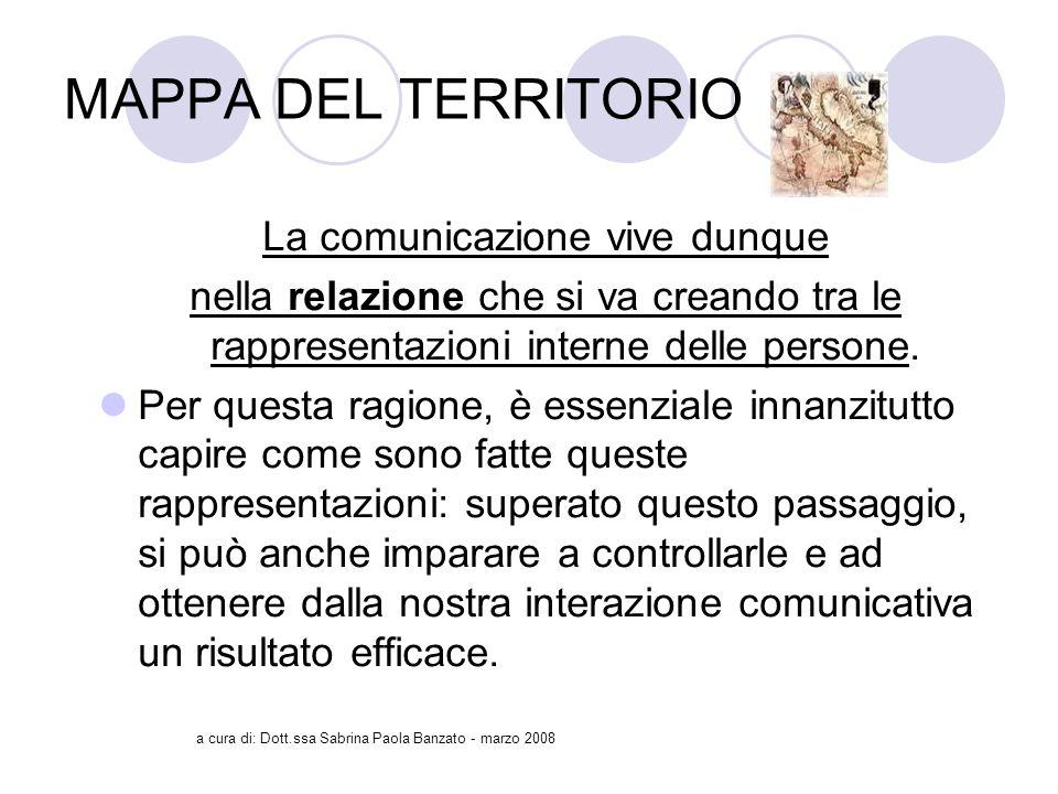 a cura di: Dott.ssa Sabrina Paola Banzato - marzo 2008 MAPPA DEL TERRITORIO La comunicazione vive dunque nella relazione che si va creando tra le rappresentazioni interne delle persone.