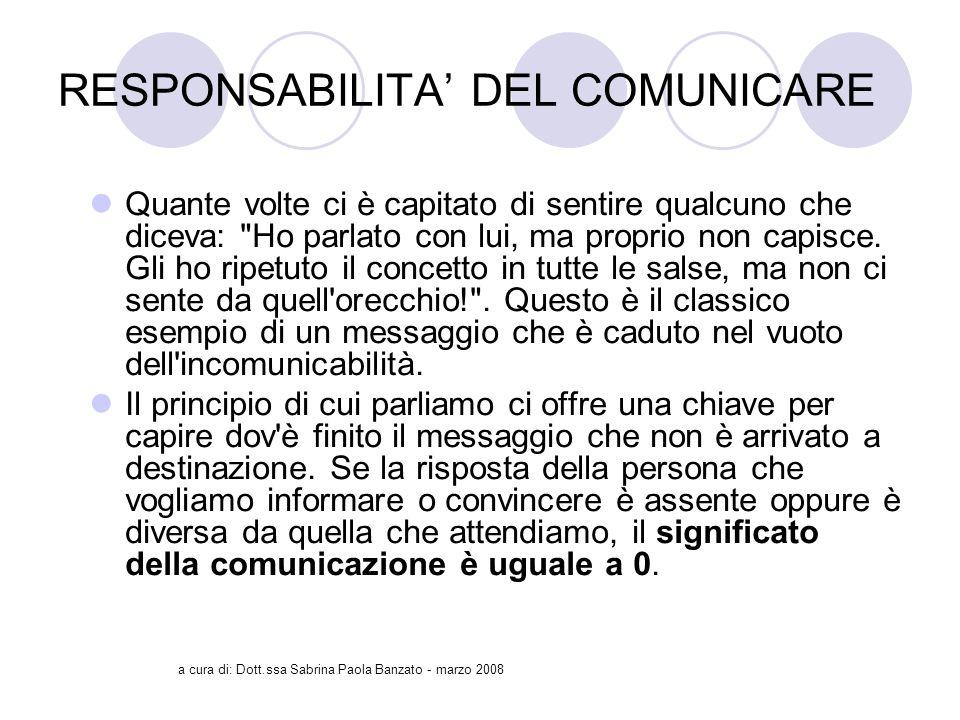 a cura di: Dott.ssa Sabrina Paola Banzato - marzo 2008 RESPONSABILITA DEL COMUNICARE Quante volte ci è capitato di sentire qualcuno che diceva: Ho parlato con lui, ma proprio non capisce.