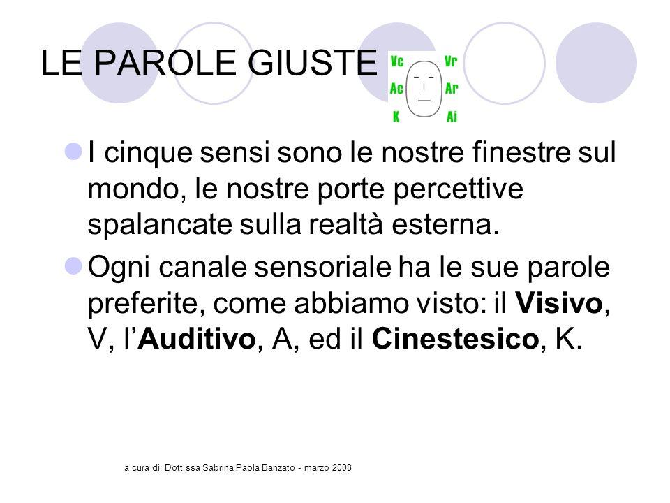 a cura di: Dott.ssa Sabrina Paola Banzato - marzo 2008 LE PAROLE GIUSTE I cinque sensi sono le nostre finestre sul mondo, le nostre porte percettive spalancate sulla realtà esterna.