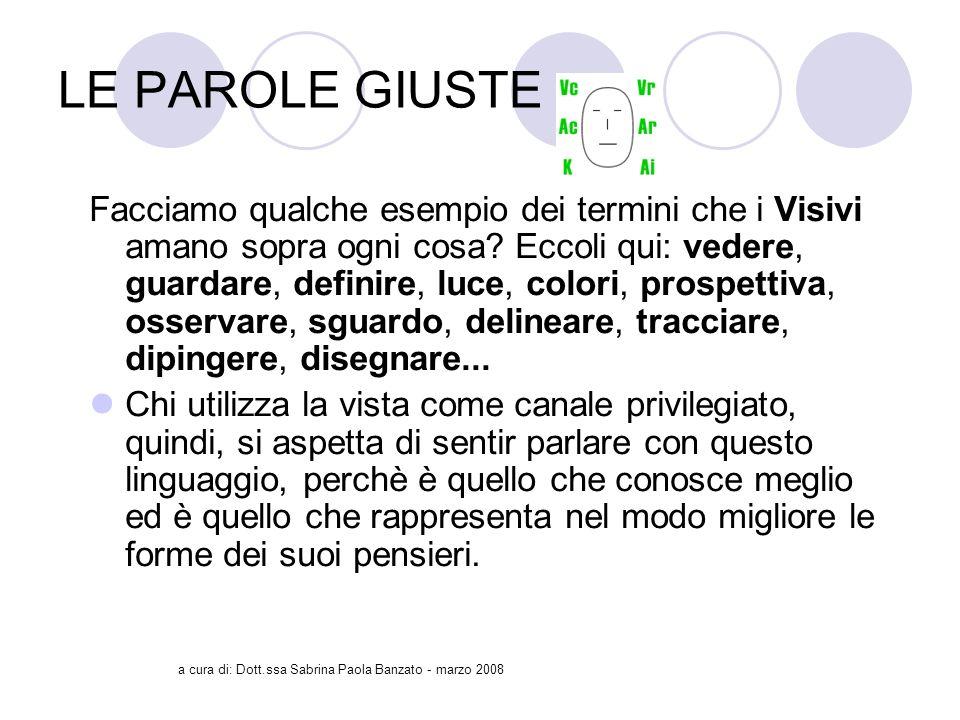 a cura di: Dott.ssa Sabrina Paola Banzato - marzo 2008 LE PAROLE GIUSTE Facciamo qualche esempio dei termini che i Visivi amano sopra ogni cosa.