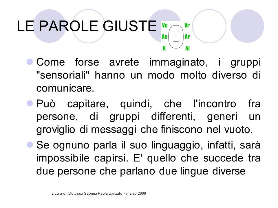 a cura di: Dott.ssa Sabrina Paola Banzato - marzo 2008 LE PAROLE GIUSTE Come forse avrete immaginato, i gruppi sensoriali hanno un modo molto diverso di comunicare.