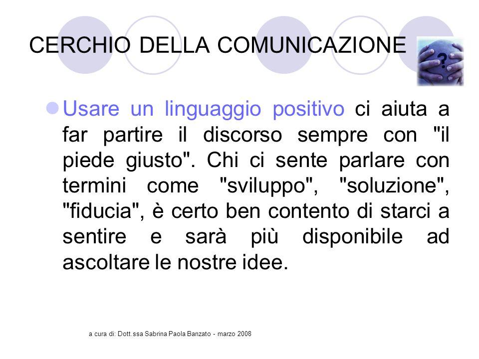 a cura di: Dott.ssa Sabrina Paola Banzato - marzo 2008 CERCHIO DELLA COMUNICAZIONE Usare un linguaggio positivo ci aiuta a far partire il discorso sempre con il piede giusto .