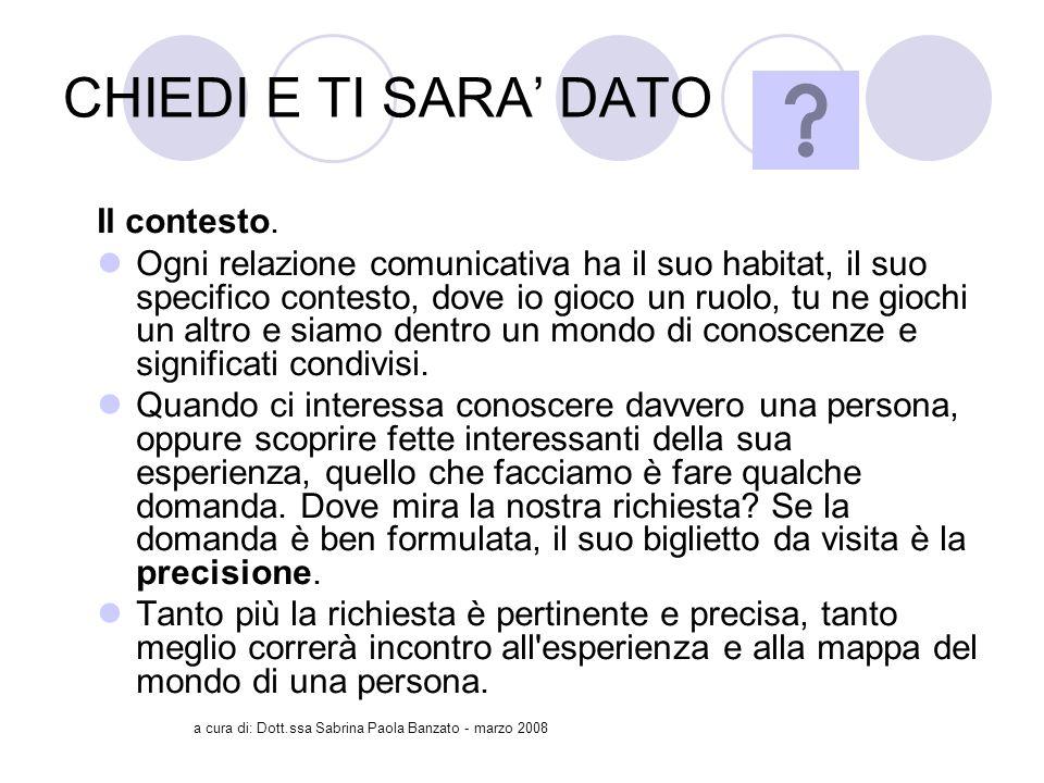 a cura di: Dott.ssa Sabrina Paola Banzato - marzo 2008 CHIEDI E TI SARA DATO Il contesto.
