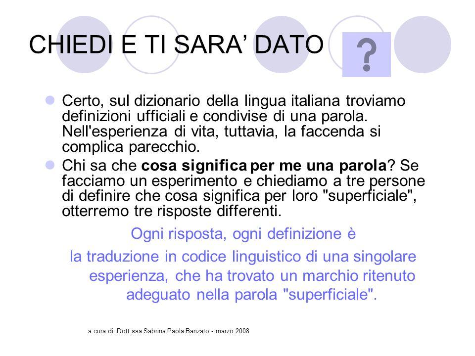 a cura di: Dott.ssa Sabrina Paola Banzato - marzo 2008 CHIEDI E TI SARA DATO Certo, sul dizionario della lingua italiana troviamo definizioni ufficiali e condivise di una parola.