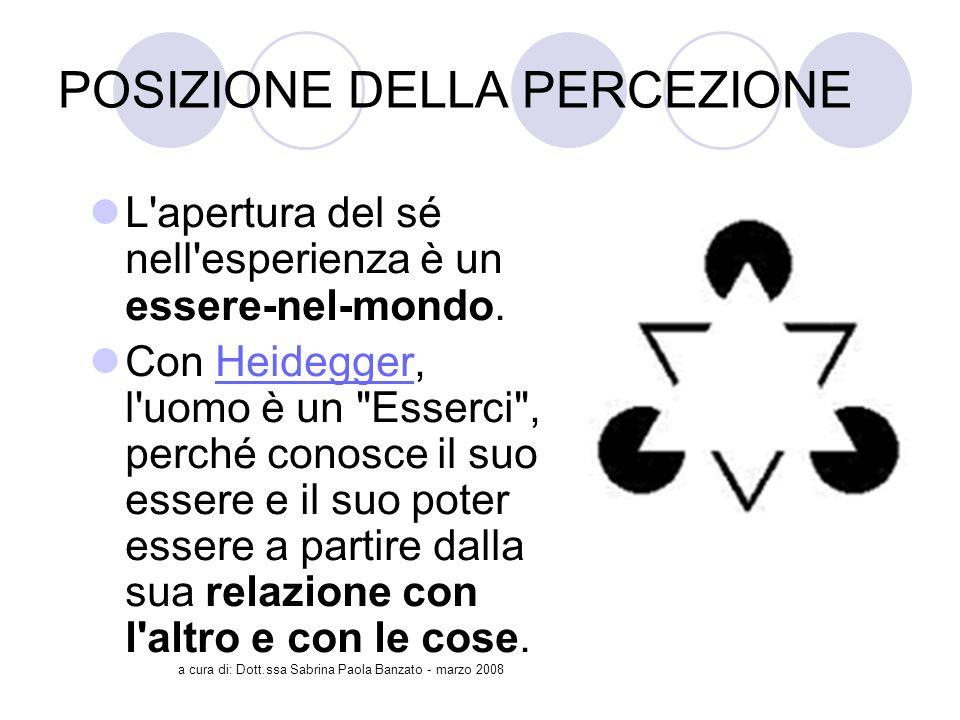 a cura di: Dott.ssa Sabrina Paola Banzato - marzo 2008 POSIZIONE DELLA PERCEZIONE L apertura del sé nell esperienza è un essere-nel-mondo.