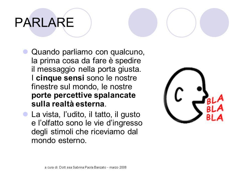 a cura di: Dott.ssa Sabrina Paola Banzato - marzo 2008 PARLARE Quando parliamo con qualcuno, la prima cosa da fare è spedire il messaggio nella porta giusta.