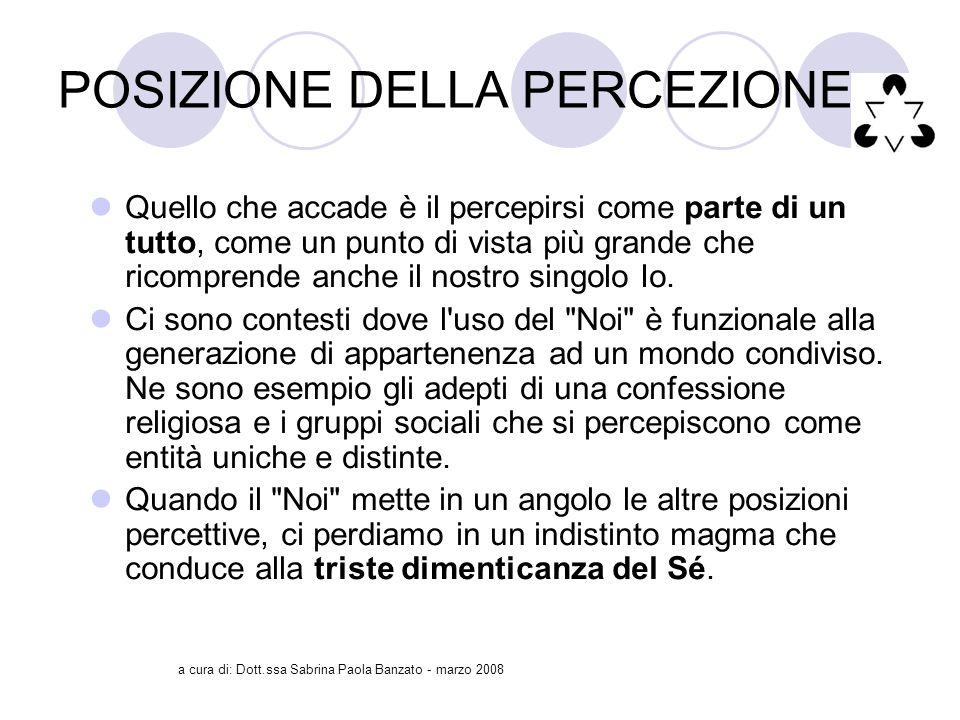 a cura di: Dott.ssa Sabrina Paola Banzato - marzo 2008 POSIZIONE DELLA PERCEZIONE Quello che accade è il percepirsi come parte di un tutto, come un punto di vista più grande che ricomprende anche il nostro singolo Io.