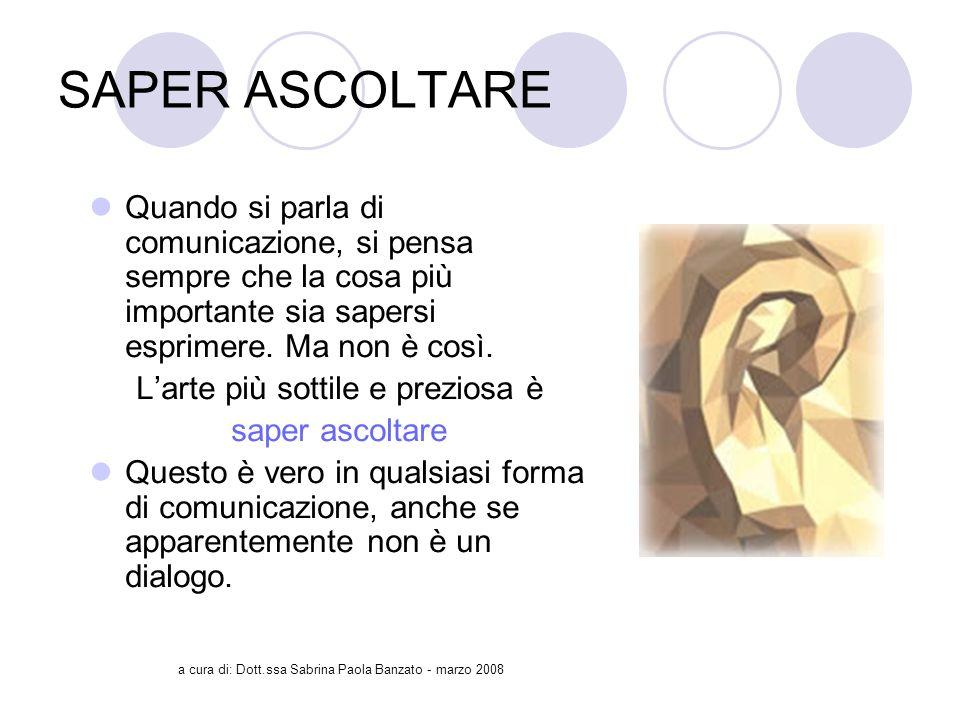 a cura di: Dott.ssa Sabrina Paola Banzato - marzo 2008 SAPER ASCOLTARE Quando si parla di comunicazione, si pensa sempre che la cosa più importante sia sapersi esprimere.