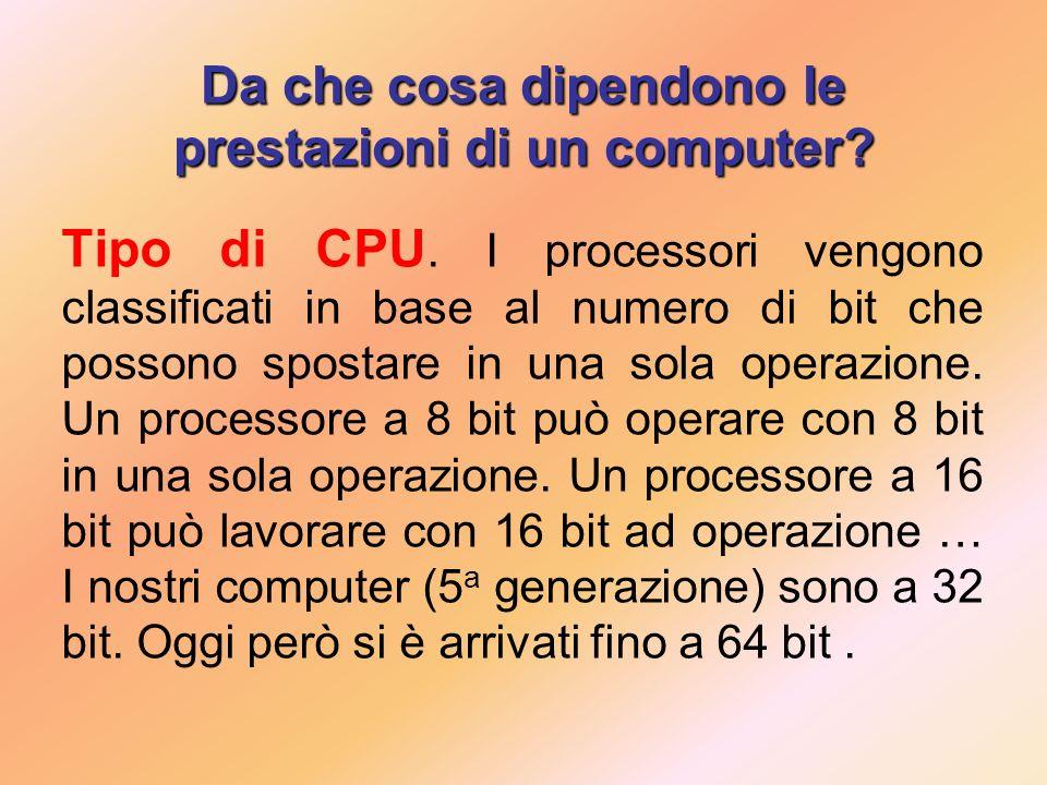 Da che cosa dipendono le prestazioni di un computer.