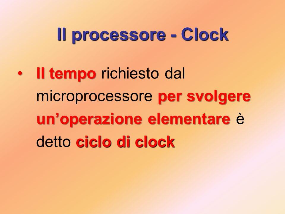 Il processore - Clock Il tempo per svolgere unoperazione elementare ciclo di clockIl tempo richiesto dal microprocessore per svolgere unoperazione elementare è detto ciclo di clock
