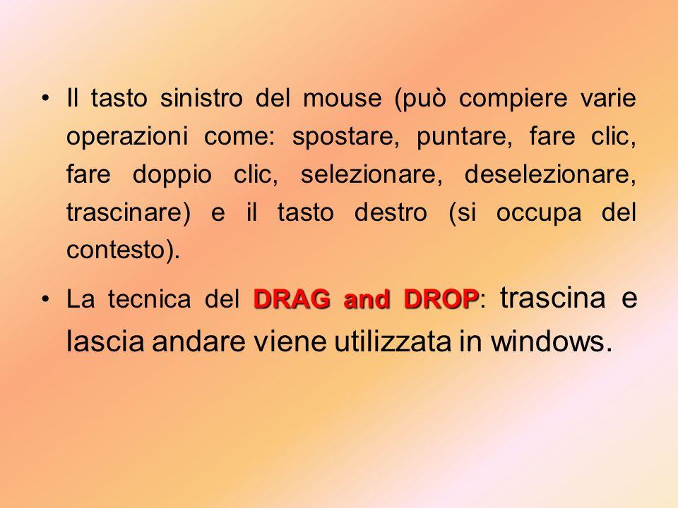 Il tasto sinistro del mouse (può compiere varie operazioni come: spostare, puntare, fare clic, fare doppio clic, selezionare, deselezionare, trascinare) e il tasto destro (si occupa del contesto).