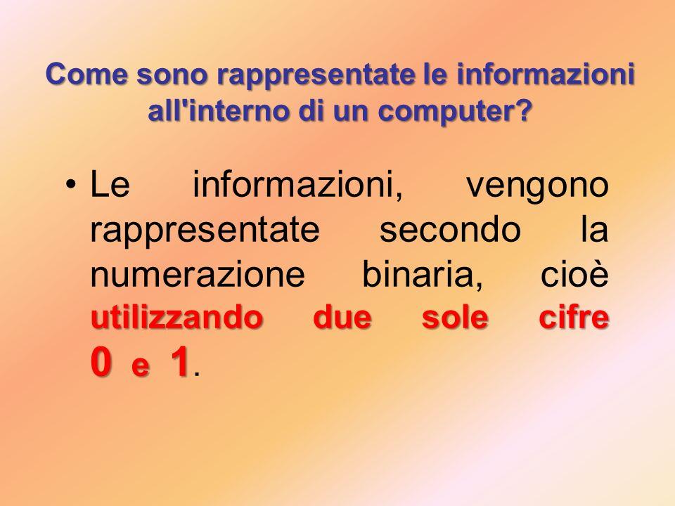 Come sono rappresentate le informazioni all interno di un computer.