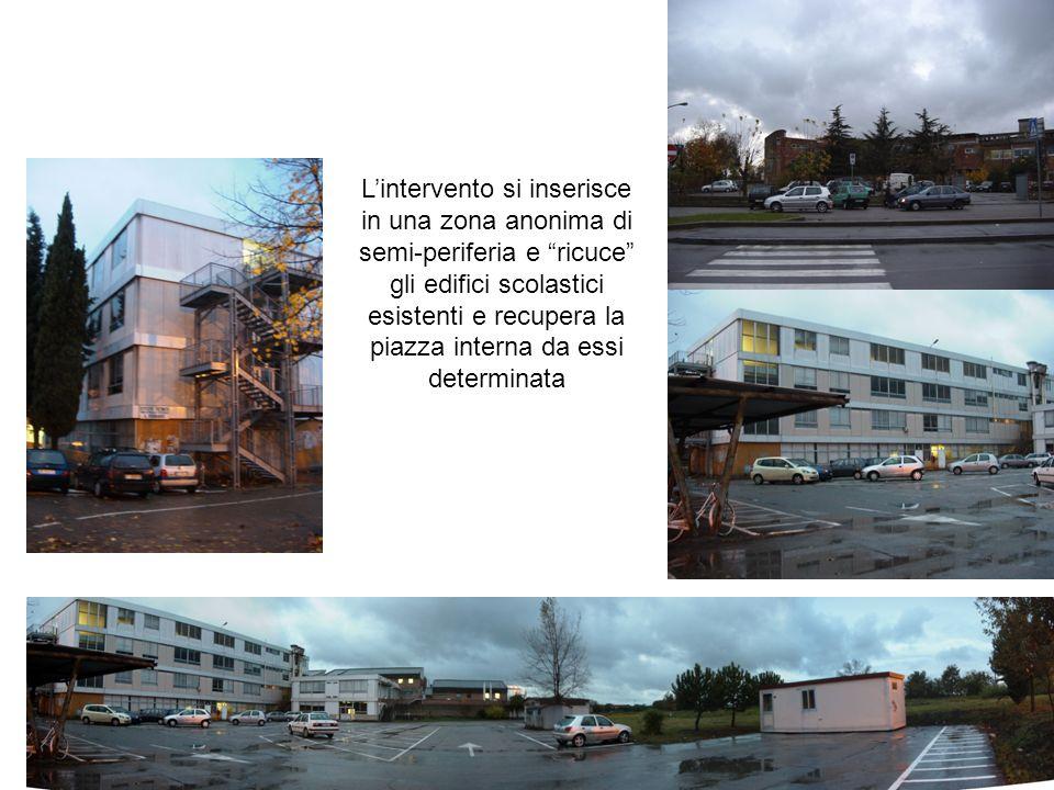 Lintervento si inserisce in una zona anonima di semi-periferia e ricuce gli edifici scolastici esistenti e recupera la piazza interna da essi determin