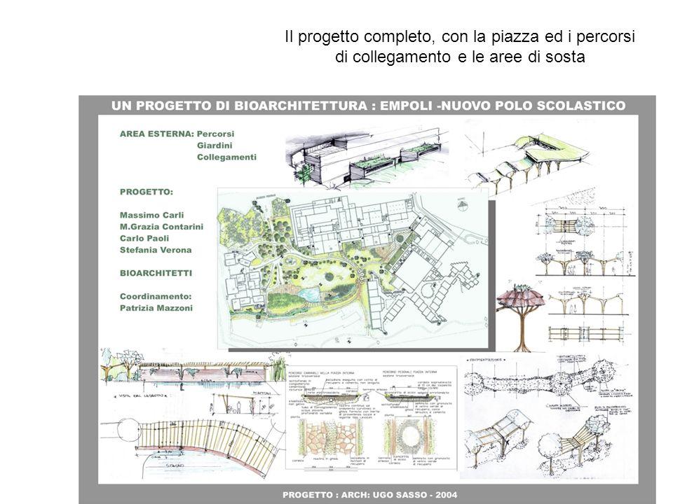 Il progetto completo, con la piazza ed i percorsi di collegamento e le aree di sosta