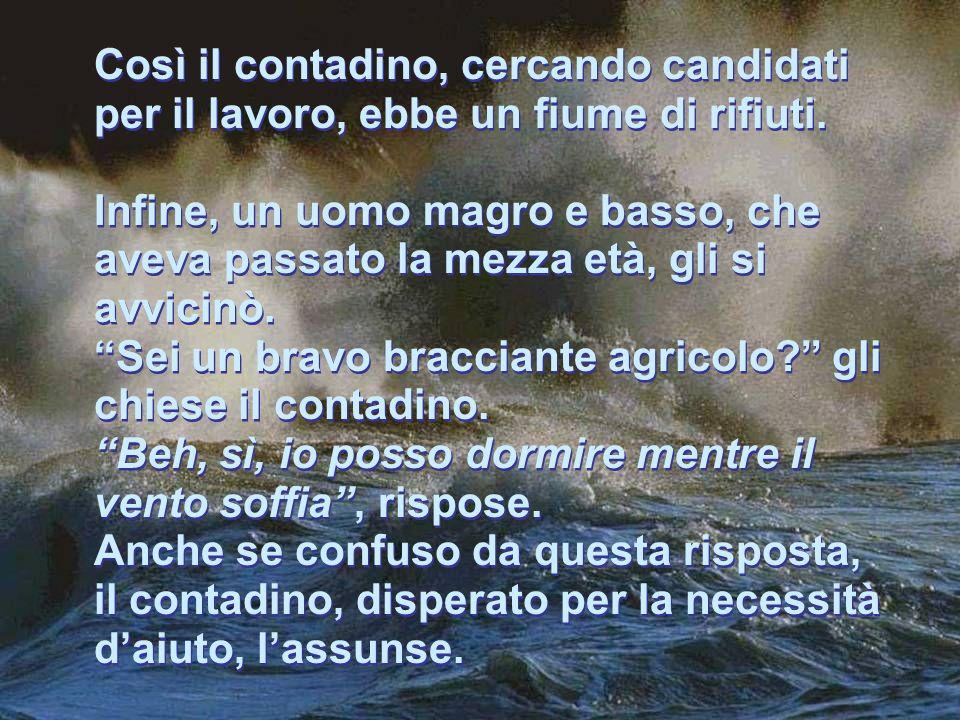 Così il contadino, cercando candidati per il lavoro, ebbe un fiume di rifiuti.