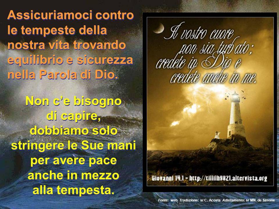 Assicuriamoci contro le tempeste della nostra vita trovando equilibrio e sicurezza nella Parola di Dio.