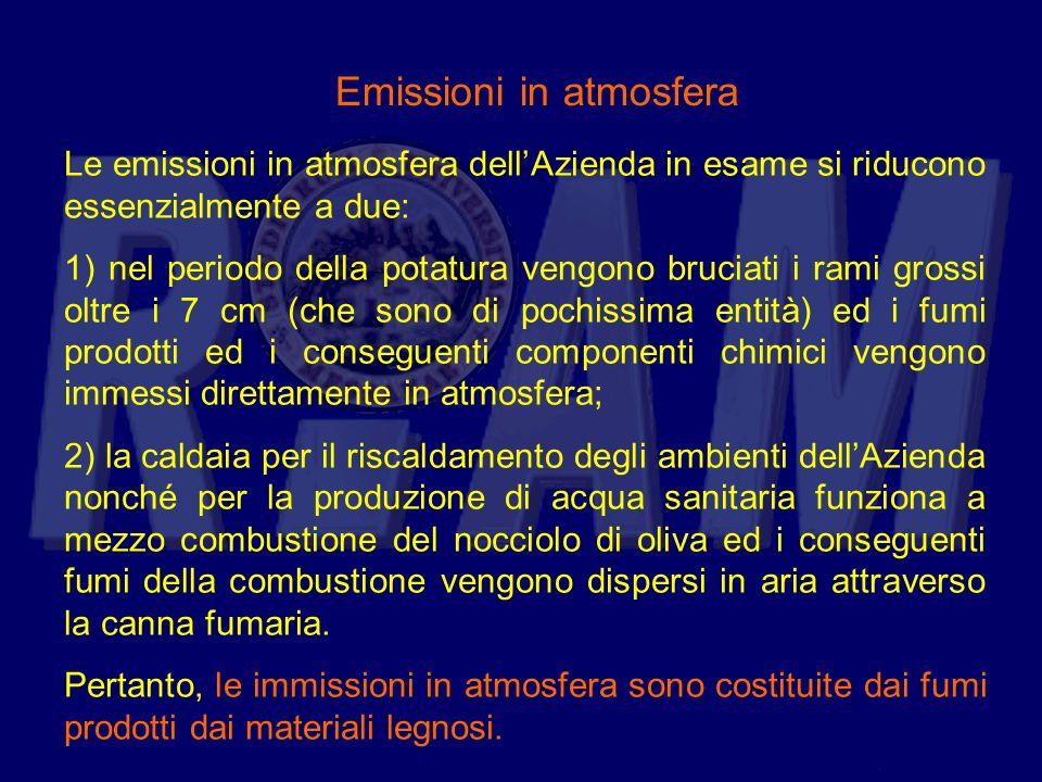 Emissioni in atmosfera Le emissioni in atmosfera dellAzienda in esame si riducono essenzialmente a due: 1) nel periodo della potatura vengono bruciati