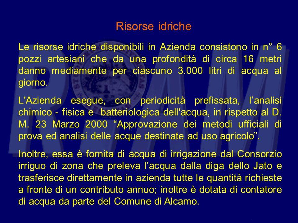 Risorse idriche Le risorse idriche disponibili in Azienda consistono in n° 6 pozzi artesiani che da una profondità di circa 16 metri danno mediamente