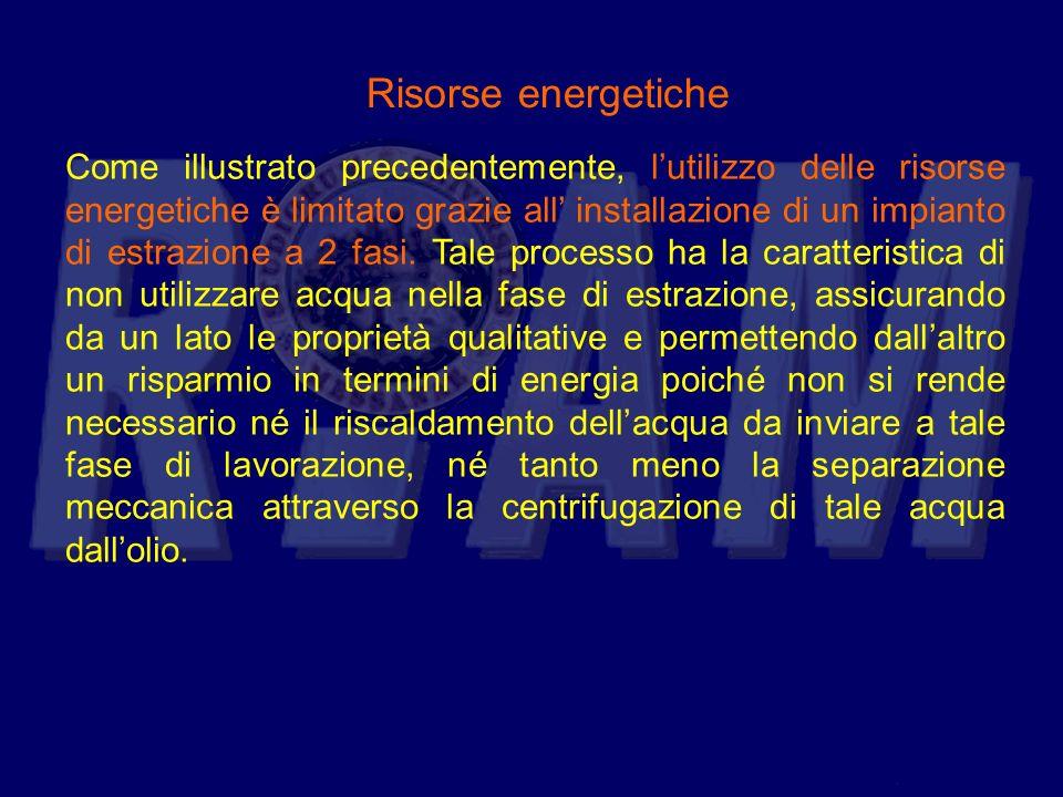Risorse energetiche Come illustrato precedentemente, lutilizzo delle risorse energetiche è limitato grazie all installazione di un impianto di estrazi