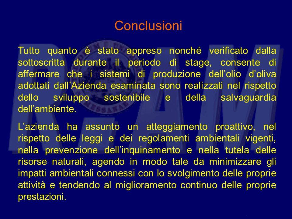 Tutto quanto è stato appreso nonché verificato dalla sottoscritta durante il periodo di stage, consente di affermare che i sistemi di produzione dello