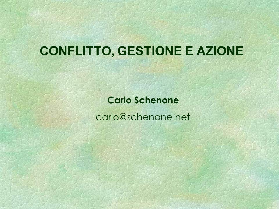 CONFLITTO, GESTIONE E AZIONE Carlo Schenone carlo@schenone.net