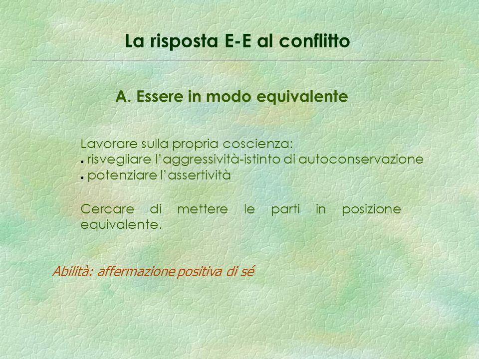 La risposta E-E al conflitto A.