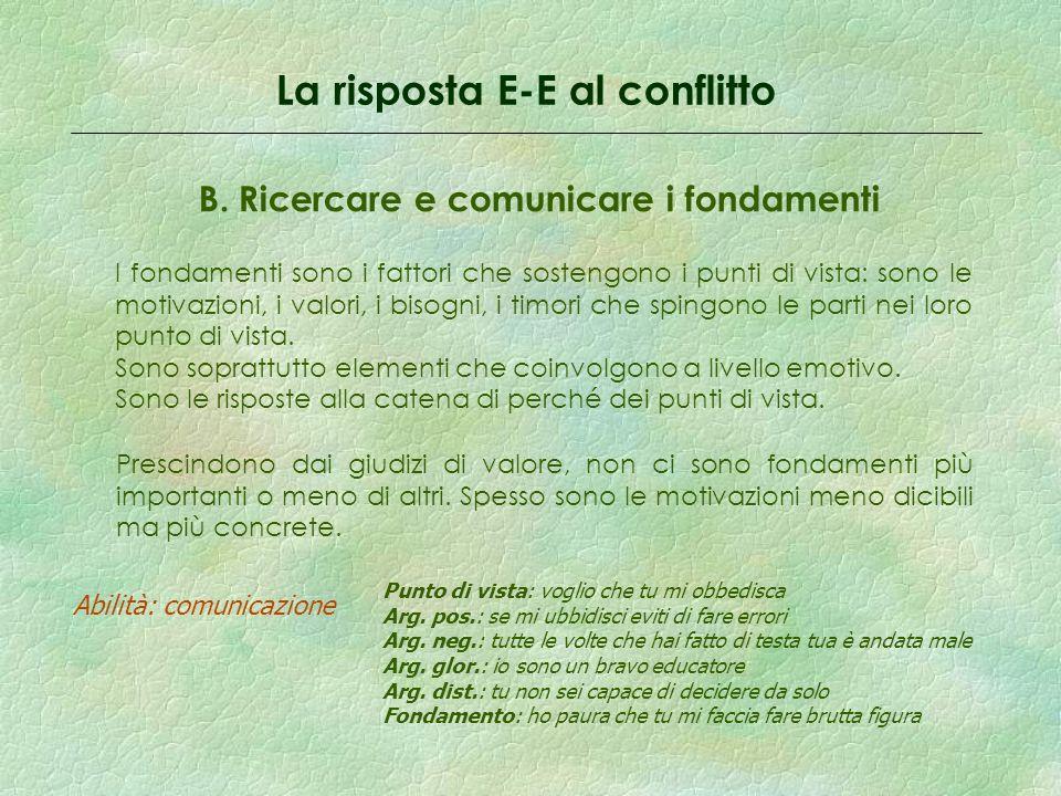 La risposta E-E al conflitto B.