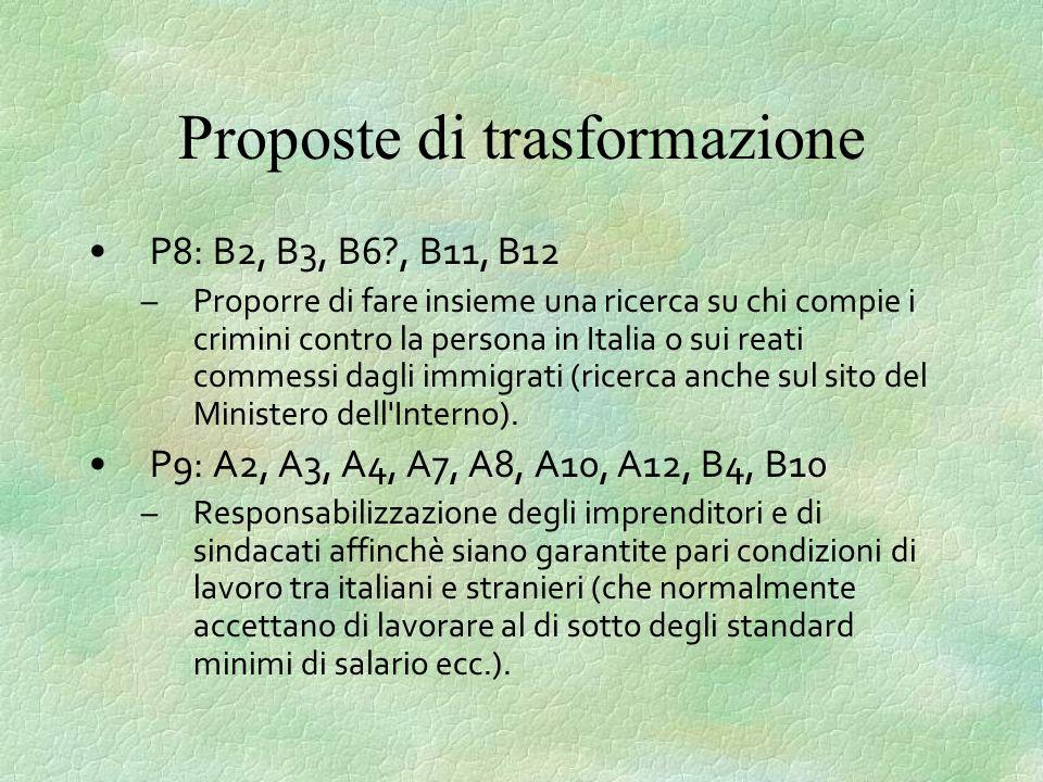 Proposte di trasformazione P8: B2, B3, B6?, B11, B12 –Proporre di fare insieme una ricerca su chi compie i crimini contro la persona in Italia o sui reati commessi dagli immigrati (ricerca anche sul sito del Ministero dell Interno).