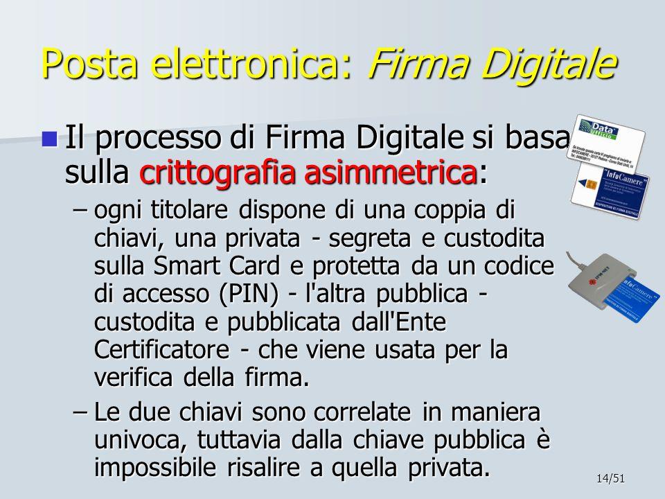 14/51 Posta elettronica: Firma Digitale Il processo di Firma Digitale si basa sulla crittografia asimmetrica: Il processo di Firma Digitale si basa su