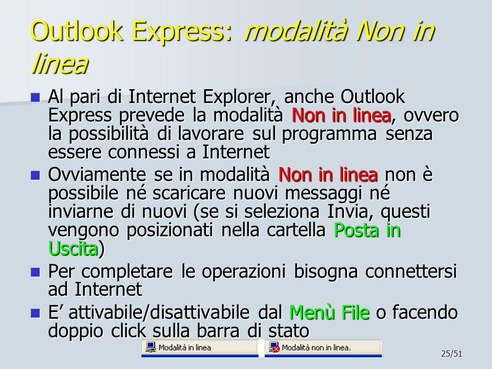 25/51 Outlook Express: modalità Non in linea Al pari di Internet Explorer, anche Outlook Express prevede la modalità Non in linea, ovvero la possibili