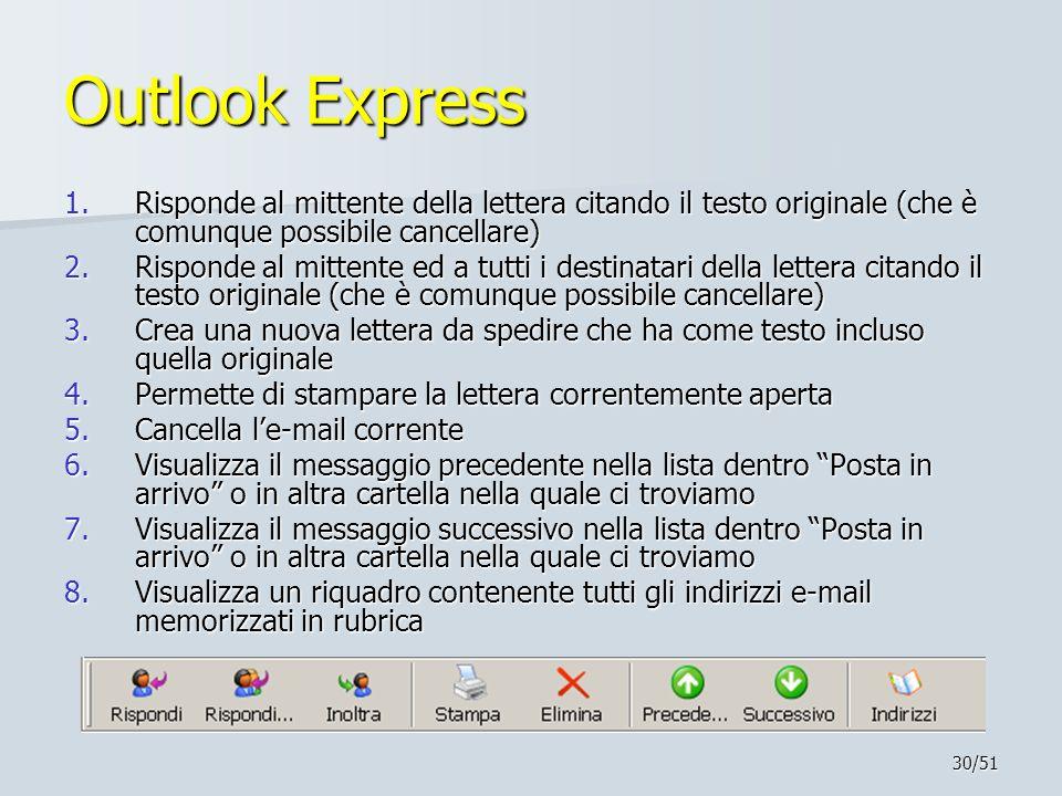 30/51 Outlook Express 1.Risponde al mittente della lettera citando il testo originale (che è comunque possibile cancellare) 2.Risponde al mittente ed