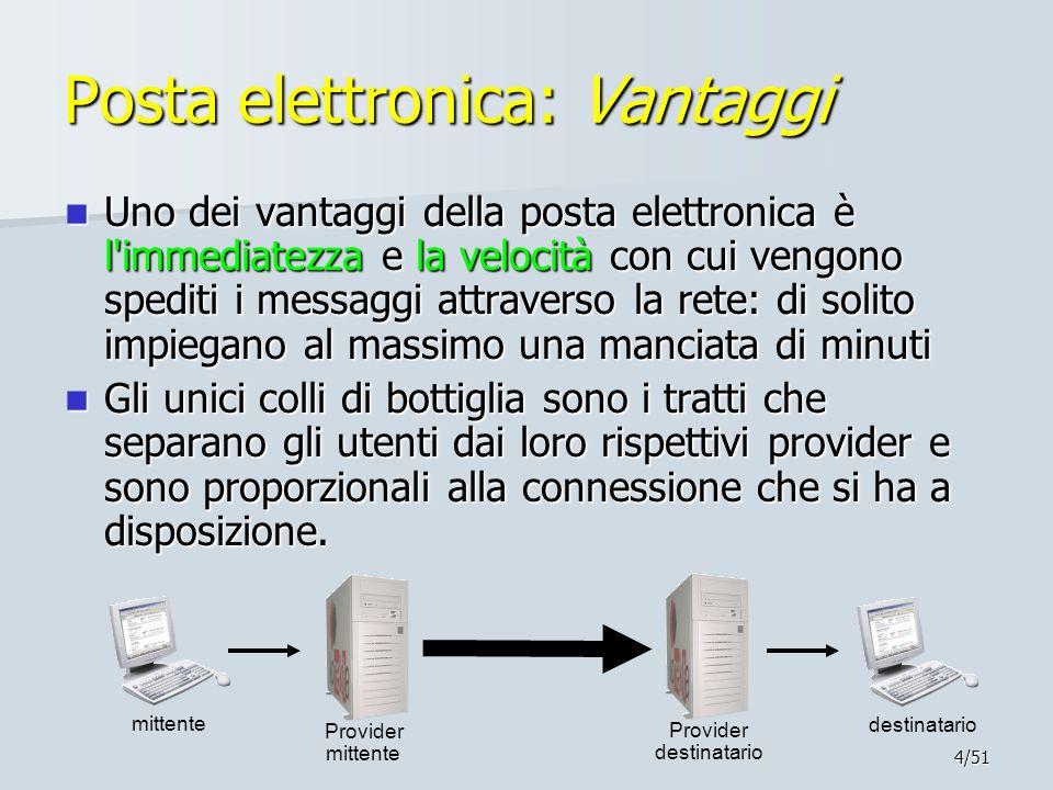4/51 Posta elettronica: Vantaggi Uno dei vantaggi della posta elettronica è l'immediatezza e la velocità con cui vengono spediti i messaggi attraverso
