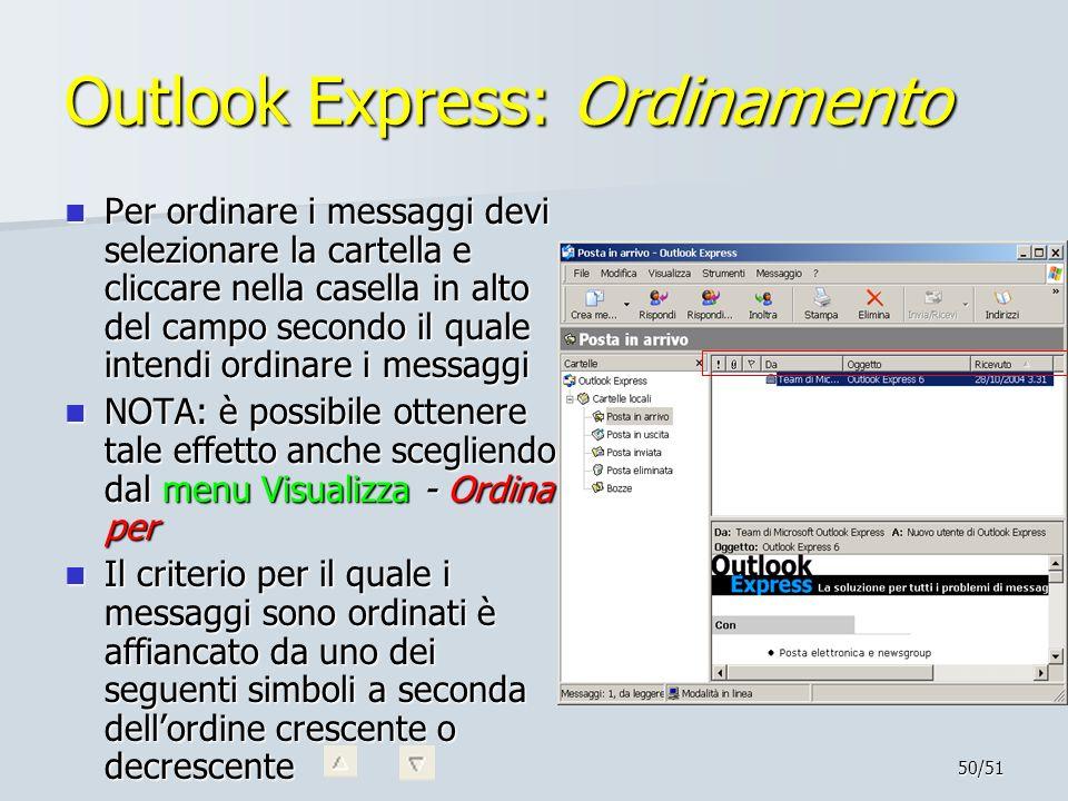 50/51 Outlook Express: Ordinamento Per ordinare i messaggi devi selezionare la cartella e cliccare nella casella in alto del campo secondo il quale in