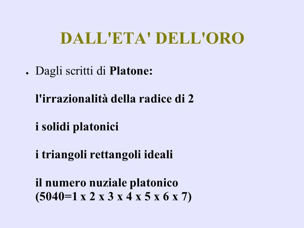 DALL ETA DELL ORO Dagli scritti di Platone: l irrazionalità della radice di 2 i solidi platonici i triangoli rettangoli ideali il numero nuziale platonico (5040=1 x 2 x 3 x 4 x 5 x 6 x 7)