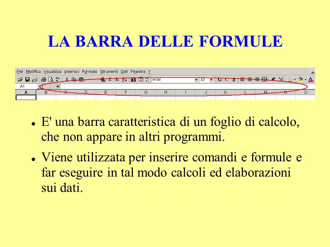 LA BARRA DELLE FORMULE E una barra caratteristica di un foglio di calcolo, che non appare in altri programmi.