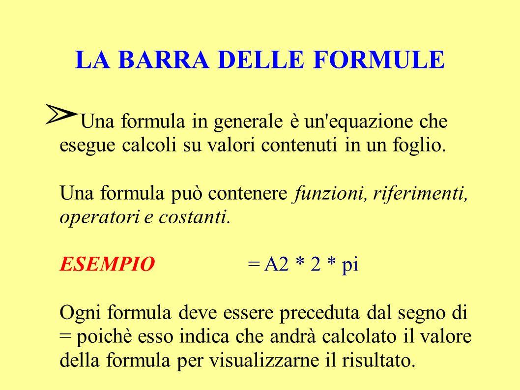 LA BARRA DELLE FORMULE Una formula in generale è un equazione che esegue calcoli su valori contenuti in un foglio.