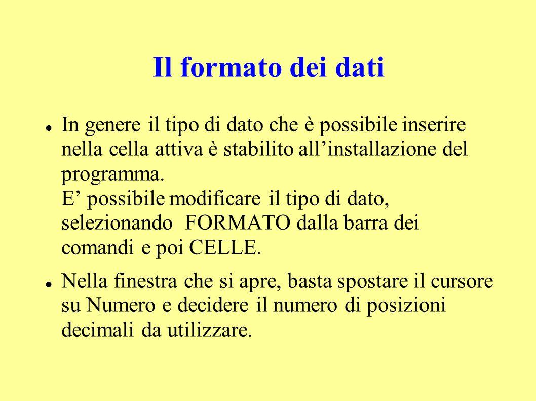 Il formato dei dati In genere il tipo di dato che è possibile inserire nella cella attiva è stabilito allinstallazione del programma.