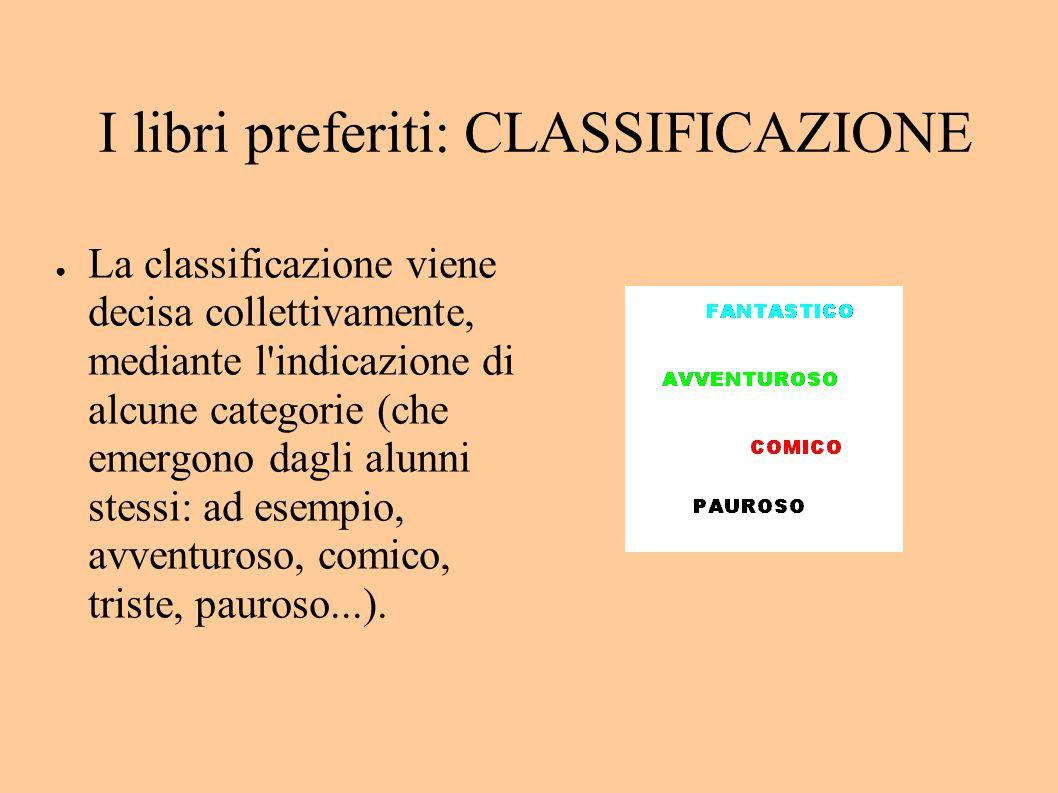 I libri preferiti: CLASSIFICAZIONE La classificazione viene decisa collettivamente, mediante l indicazione di alcune categorie (che emergono dagli alunni stessi: ad esempio, avventuroso, comico, triste, pauroso...).