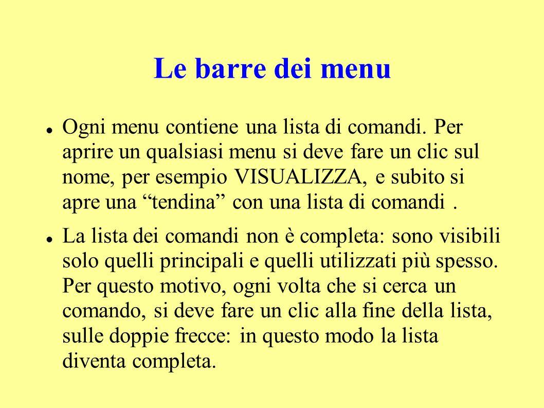 Le barre dei menu Ogni menu contiene una lista di comandi.