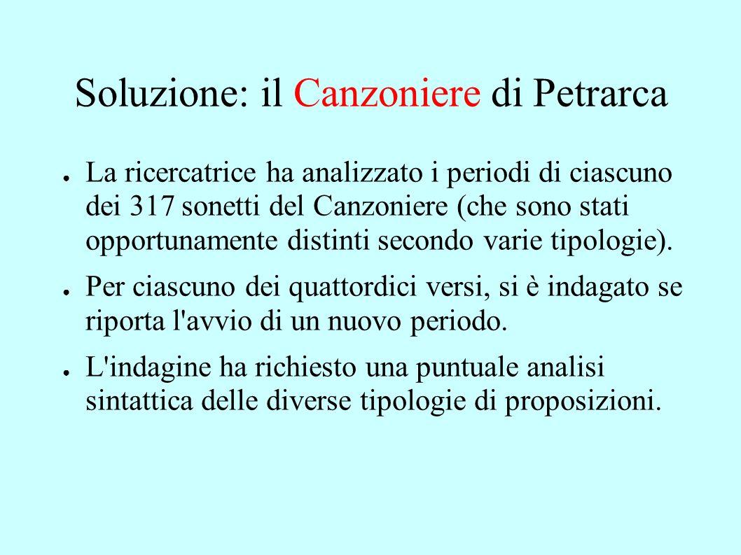 Soluzione: il Canzoniere di Petrarca La ricercatrice ha analizzato i periodi di ciascuno dei 317 sonetti del Canzoniere (che sono stati opportunamente distinti secondo varie tipologie).