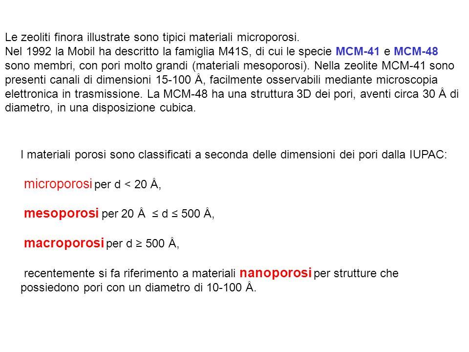 I materiali porosi sono classificati a seconda delle dimensioni dei pori dalla IUPAC: microporosi per d < 20 Å, mesoporosi per 20 Å d 500 Å, macroporosi per d 500 Å, recentemente si fa riferimento a materiali nanoporosi per strutture che possiedono pori con un diametro di 10-100 Å.