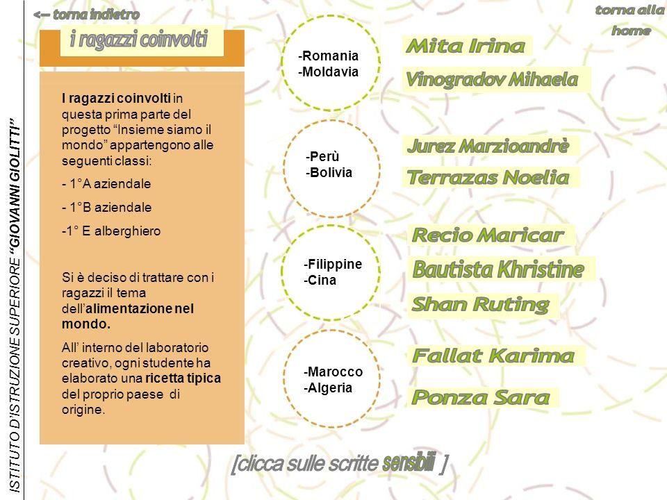 ISTITUTO DISTRUZIONE SUPERIORE GIOVANNI GIOLITTI -Perù -Bolivia -Romania -Moldavia I ragazzi coinvolti in questa prima parte del progetto Insieme siam