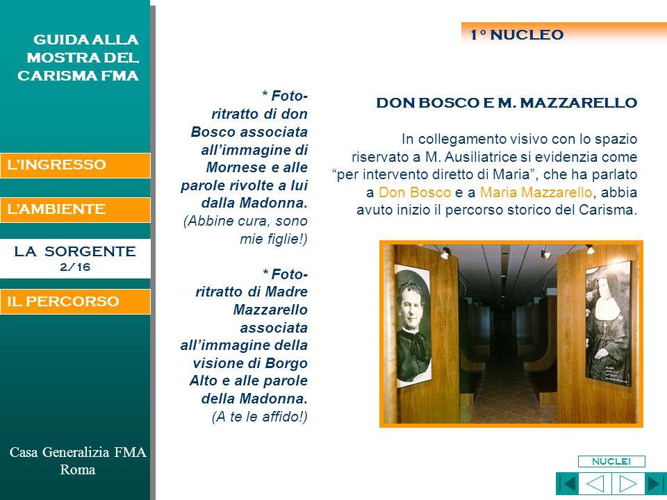 LAMBIENTE LA SORGENTE 1/16 Casa Generalizia FMA Roma GUIDA ALLA MOSTRA DEL CARISMA FMA 1°: Don Bosco e M.