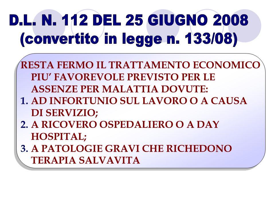 RESTA FERMO IL TRATTAMENTO ECONOMICO PIU FAVOREVOLE PREVISTO PER LE ASSENZE PER MALATTIA DOVUTE: 1.AD INFORTUNIO SUL LAVORO O A CAUSA DI SERVIZIO; 2.A RICOVERO OSPEDALIERO O A DAY HOSPITAL; 3.A PATOLOGIE GRAVI CHE RICHEDONO TERAPIA SALVAVITA