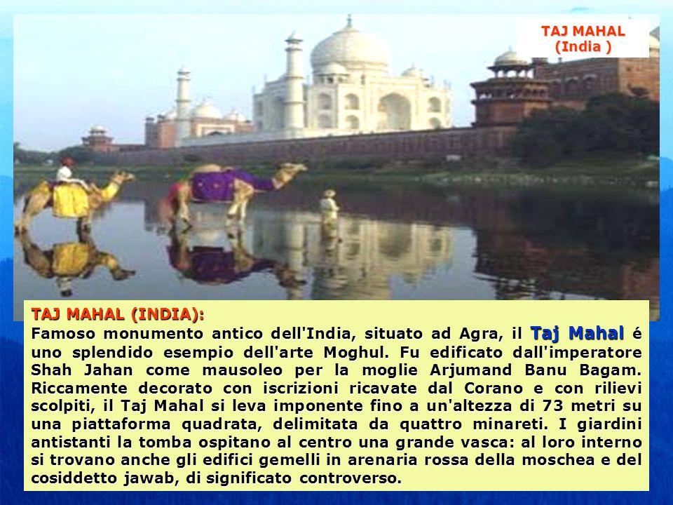 TAJ MAHAL (INDIA): Famoso monumento antico dell'India, situato ad Agra, il Taj Mahal é uno splendido esempio dell'arte Moghul. Fu edificato dall'imper