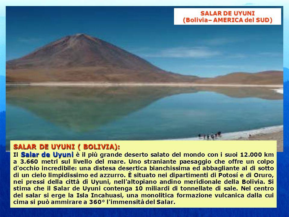 SALAR DE UYUNI ( BOLIVIA): Il Salar de Uyuni è il più grande deserto salato del mondo con i suoi 12.000 km a 3.660 metri sul livello del mare. Uno str