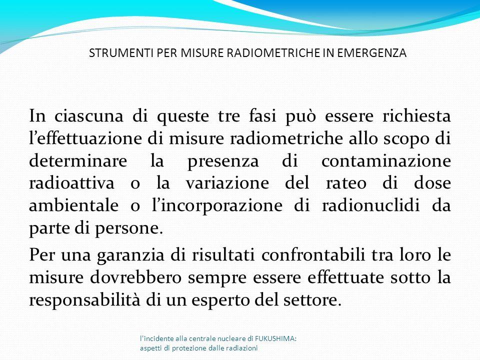 In ciascuna di queste tre fasi può essere richiesta leffettuazione di misure radiometriche allo scopo di determinare la presenza di contaminazione rad
