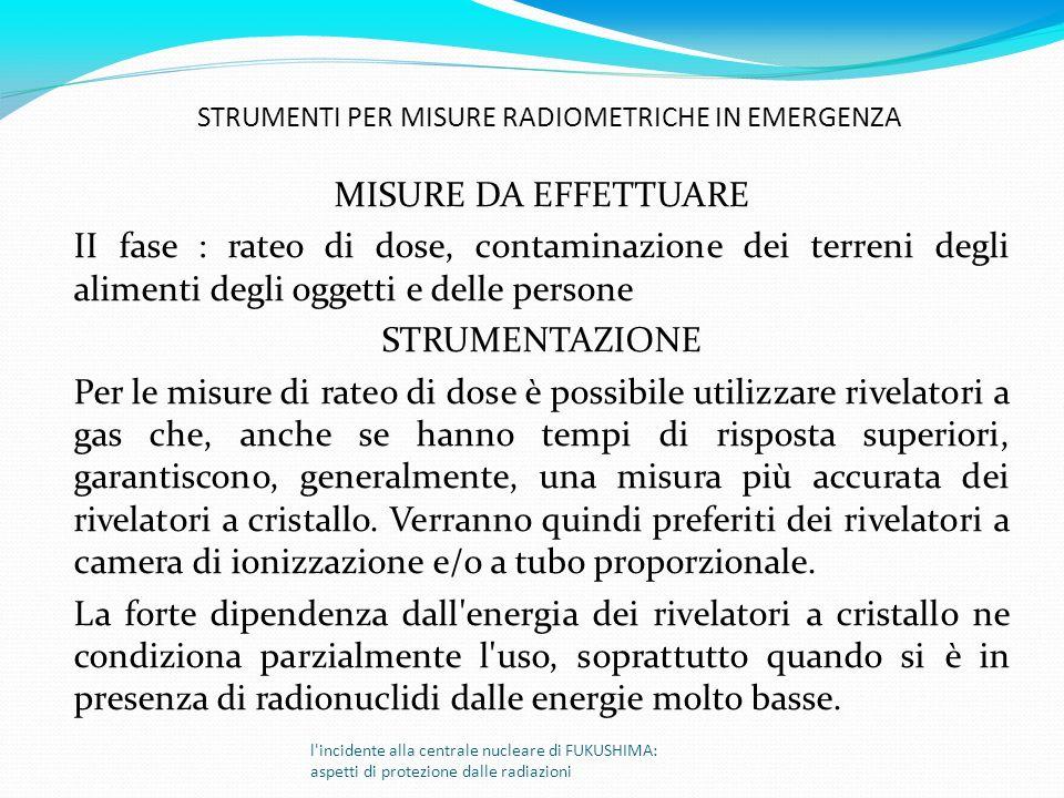 MISURE DA EFFETTUARE II fase : rateo di dose, contaminazione dei terreni degli alimenti degli oggetti e delle persone STRUMENTAZIONE Per le misure di