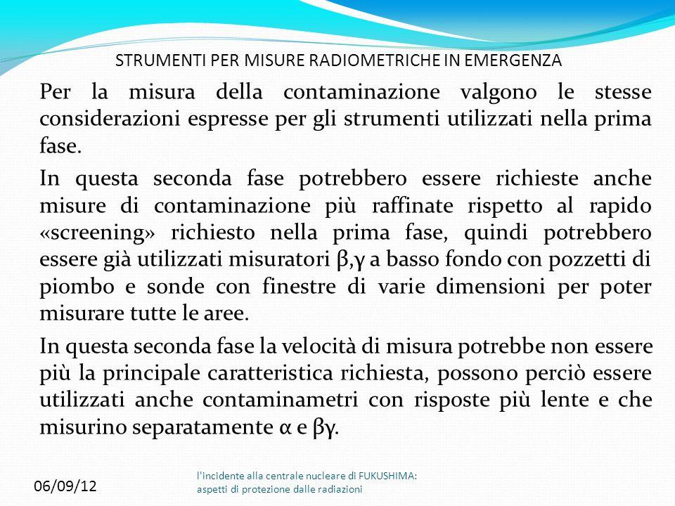 06/09/12 STRUMENTI PER MISURE RADIOMETRICHE IN EMERGENZA l'incidente alla centrale nucleare di FUKUSHIMA: aspetti di protezione dalle radiazioni Per l